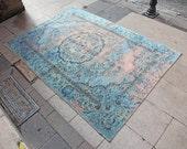 BLUE & RUST Overdyed Oushak Rug - 5'7'' x 7'9'' - 1940s Anatolian Handwoven Overdyed Decorative Vintage Carpet