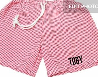Boys swimwear, boys gingham trunks,  Monogram swim trunks, Baby swim trunks, Custom swim trunks, Toddler Swim Trunks, personalized trunks!