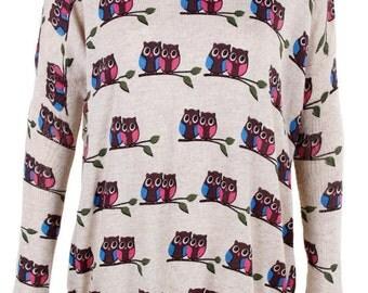 Owl Print womens top Knitwear Cardigan Jumper -top ladies shirt