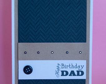 Handmade Chevron Embossed Male Birthday Card, birthday card for him, embossed birthday card, stylish male card, black & brown birthday card