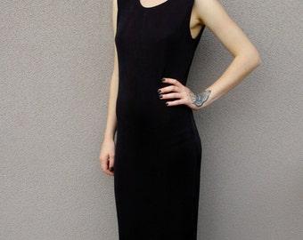 CLEARANCE Vintage 90's Black Maxi Strech Dress with Side Slit
