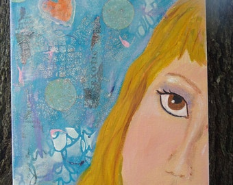 Girl Peeping around the Sky Portrait with collage and painted background gallery canvas