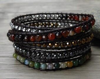 boho wrap bracelet india agate bead bracelet hematite gemstone bracelet metalic bead leather bracelet gypsy leather wrap bracelet SL-0286