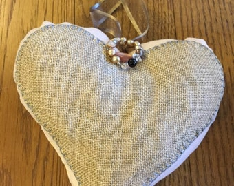 Fabric heart, Shabby chic, vintage, country style.