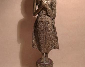 Antique Buddha Statue Gilt Bronze Shakyamuni Buddha Rattanakosin 19th Century,Bronze Gilded Larger Buddha Statue.