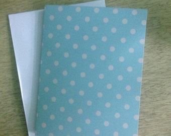 Light blue polka dot blank greeting card note