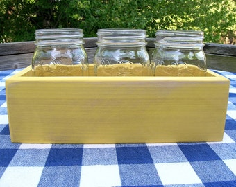 Centerpiece Box - Mason Jar Caddy, 3-jar size - Yellow - Organizer - Gift Box