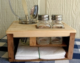 Kitchen Table Organizer - Picnic Table Caddy - Silverware Salt and Pepper Napkin Candle Holder - REDUCED!