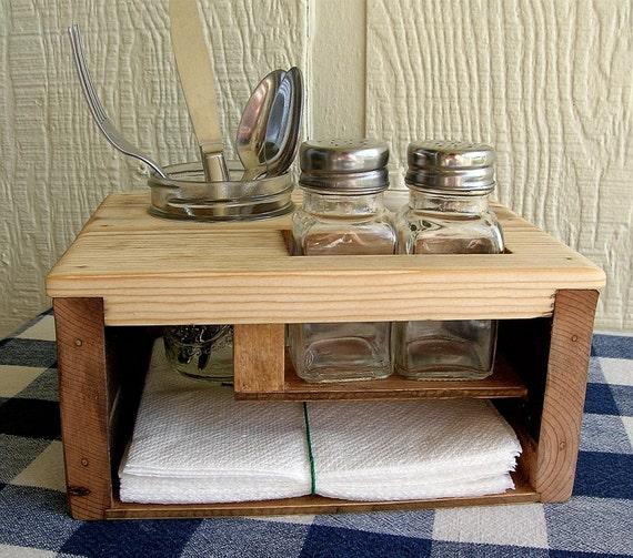 Picnic Table Caddy Kitchen Table Organizer Silverware Salt