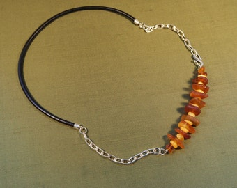 Individual Amber, Sterling Silver and leather necklace