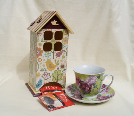 wooden tea bags holder little birds tea house box wooden tea. Black Bedroom Furniture Sets. Home Design Ideas