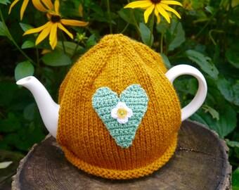 Mustard Tea Cosy with Heart, Teacozy, Teapot Cosy