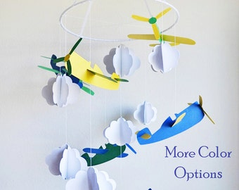 Airplane Mobile - Boy Nursery Mobile - Airplane Nursery - Boy Crib Mobile - Airplane Nursery Decor - Plane Baby Mobile - Nursery Mobile Boy