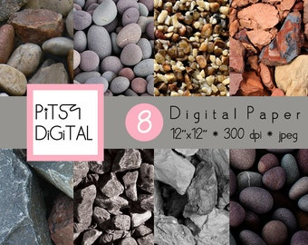 Stones Pebbles Digital Paper Pack Commercial Use 8 Sheets Nature Paper Supplies Scrapbooking Printable Background Instant Download 0017