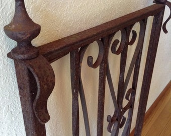 Vintage Wrought Iron Railing, Garden Trellis, Architectural , Home Decor, Sculptural Garden Piece