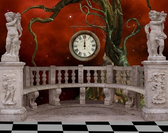 Fairy Tale Backdrop - wedding, gothic stone building, balcony - Printed Fabric Photography Background G1363