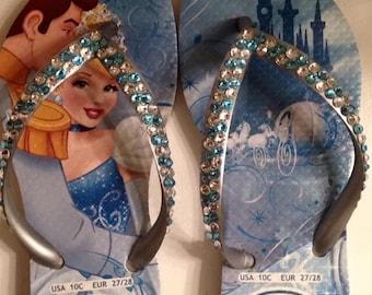 Handcrafted Swarovski crystal embellished child's Havaianas flip flops