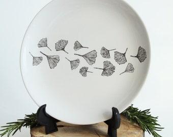 Plate Ginkgo Biloba, Screenprint, black and white, plate tableware, nature print, tableware