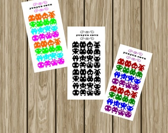 Space Invaders Stickers Small - Planner Stickers - Video Game Stickers