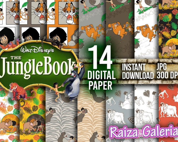 AWESOME The Jungle Book Digital Paper. Instant Download - Scrapbooking - The Jungle Book Printable Paper