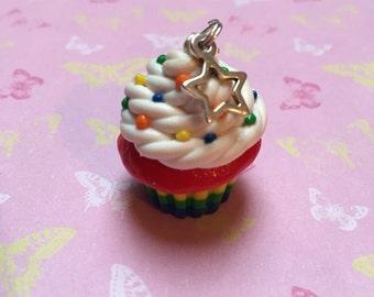 Polymer Clay Rainbow Cupcake Charm