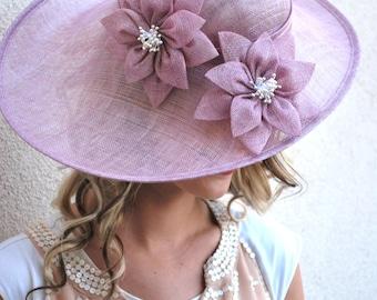 Heather pink Fascinator, Womens Tea Party Hat, Church Hat, Derby Hat, Fancy Hat, Purple  Hat, Tea Party Hat, wedding hat