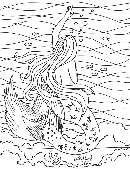 mermaid coloring page embroidery pattern mermaid art