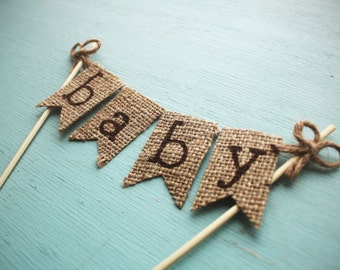 Baby Shower Cake Topper, Rustic Baby Shower Topper, Rustic Cake Topper, Burlap Baby Shower Topper, Burlap Cake Topper, Baby Shower Decor