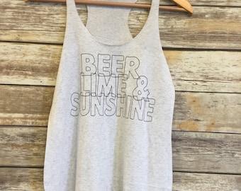 Beer Lime & Sunshine tank summer racer back tank, lake tank, beer, sunshine