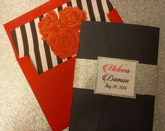 Glitter & Floral Invitation Set