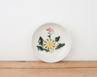 Antique Hand Painted Dandelion Small Japanese Plate