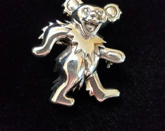 Sterling Silver Greatful Dead Dancing Bear Pin