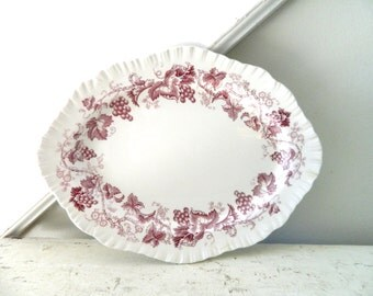 Vintage  White Red Ironstone Transferware Platter