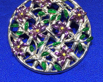 Sterling Silver Enameled Flowers Pin/Pendant
