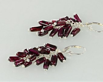 Red Garnet Cluster Sterling Silver Earrings, Red Gemstone Bead Earrings