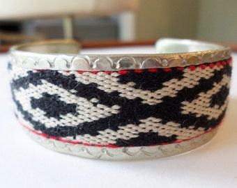 Silver Tone Handcrafted Tribal Cuff Knitted Bracelet.
