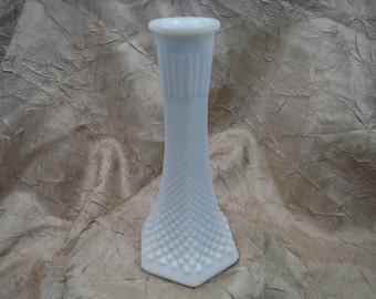 1950's EO Brody Hobnail Milk Glass Bud Vase- Antique, Vintage, Useable