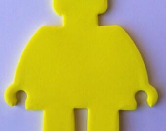 Mini Figure Shape Cutout Self-Stick Notepads - Bricks or Building Blocks Theme Party Favor (12 Pack)