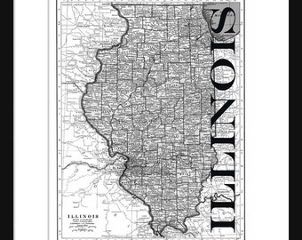 Illinois Map - Map of Illinois - Poster - Print