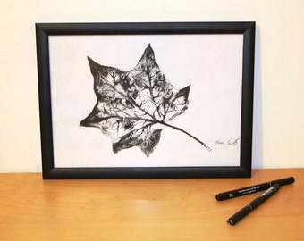 Leaf print - nature print, black and white, drawing, nature art, A4 or A5, garden print, nature decor