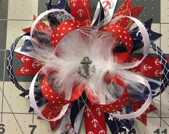 Red White and Blue Anchor Hair Bow