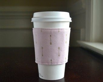 Cup Cozy - Pink with Delicate Gold Arrows in Gorgeous Gift Box