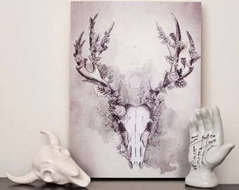 Woodland Stag Canvas Print in Grey - 12x16 inches (A3)