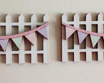 Fairy Door Accessory - Fencing with Bunting