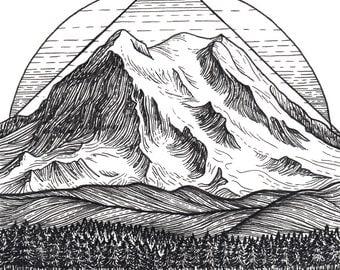 Mt Rainier 5x5 Print - Mountain Art Giclee Print