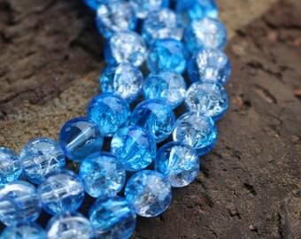 Winter Beads, 6mm Round Beads, Ice Blue Beads, Glass Beads, White Beads, Custom Jewelry Beads, AA008B