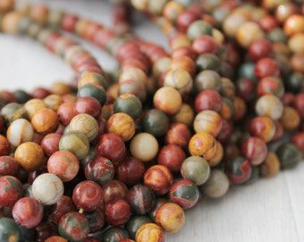 Picasso Jasper 8mm round gemstone beads rainbow gemstone full strand jewelry supply