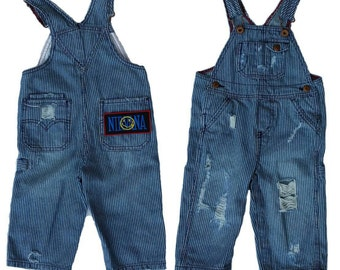 Nirvana distressed toddler overalls