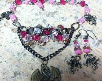 Bronze  Pendant Dragon Necklace, Pink Beaded Dragon Necklace, Bronze Chain Necklace, Pink Beaded Dragon Earrings