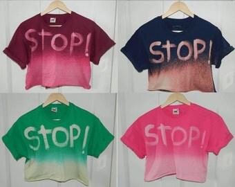 Tie Dye acid wash crop top Cutoff Tshirt hipster festival grunge Retro 80s 90s indie dip dye indie rave skate galaxy top